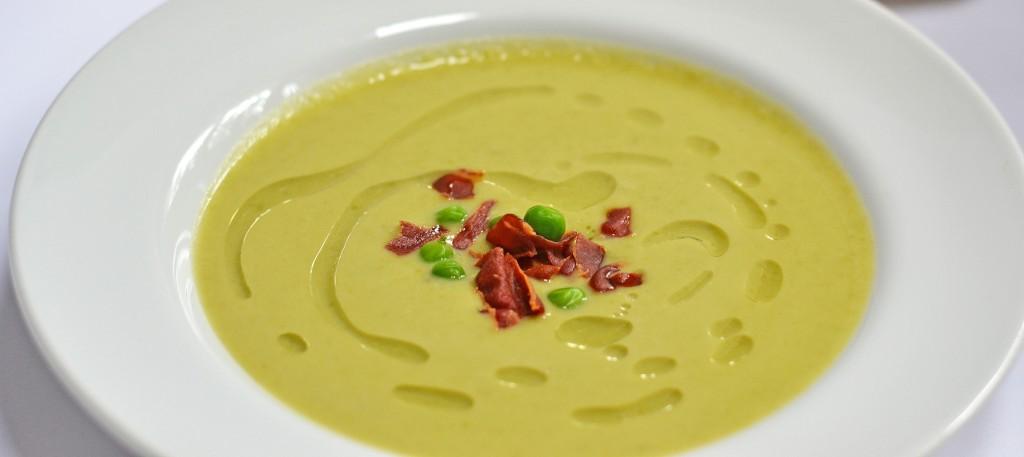 Pea Parmesan Soup with Crispy Prosciutto and White Truffle Oil - Queen ...
