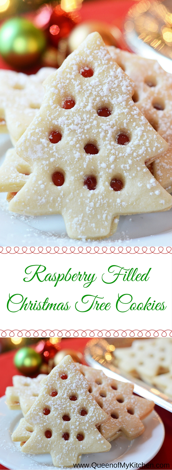 Raspberry Filled Christmas Tree Cookies Queen Of My Kitchen