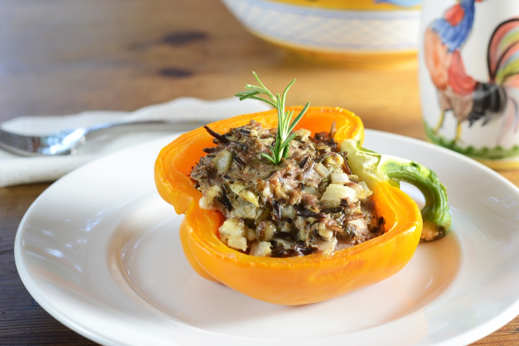 blue cheese rosemary and wild rice stuffed peppers